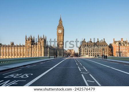 Empty Westminster Bridge with the Houses of Parliament and the Big Ben in London - stock photo