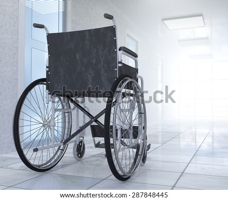 Empty wheelchair parked in hospital hallway  hope concept background - stock photo