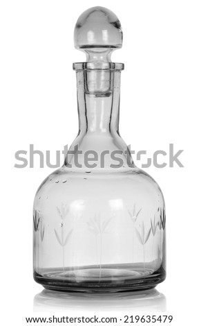 Empty whiskey bottle. Isolated on white background - stock photo