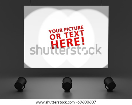 empty white billboard, with room for your text, lit up by three spots, with a dark background