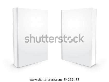Empty white books isolated on the white background - stock photo
