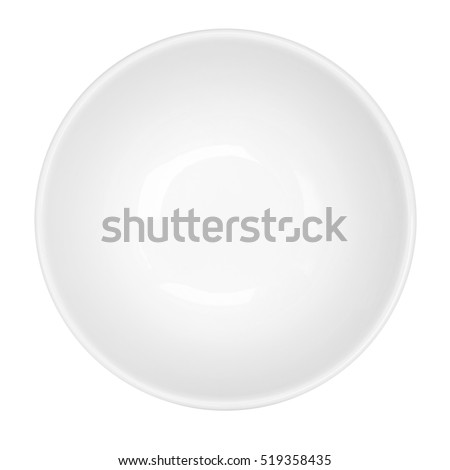 Empty white bowl isolated on white background, top view