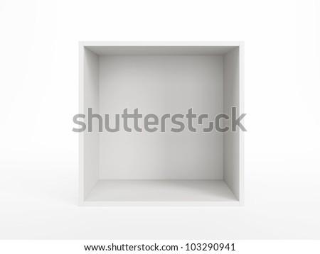 empty white box isolated 3d render - stock photo