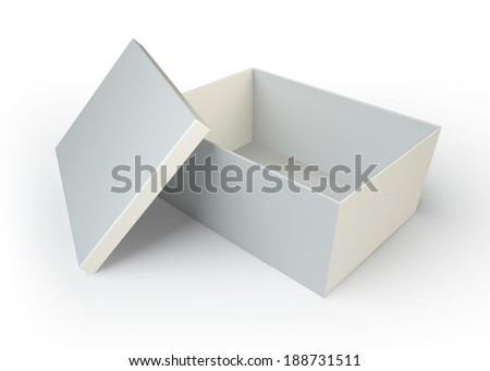 empty white box opened on white background. clipping path included - stock photo