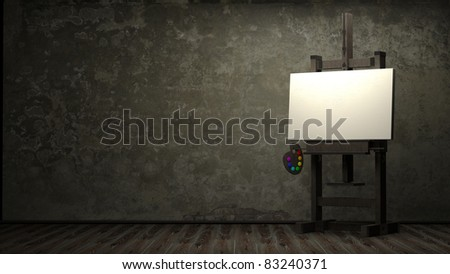 Empty white canvas for artist on wooden easel in dark room 3d - stock photo