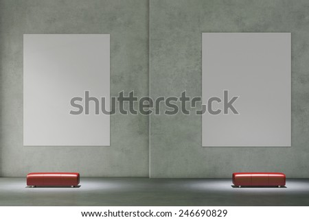 Empty white canvas hanging on wall in museum gallery (3D Rendering) - stock photo