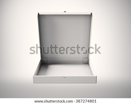 Empty white carton open pizza box on blank background. Horizontal mockup. 3d render
