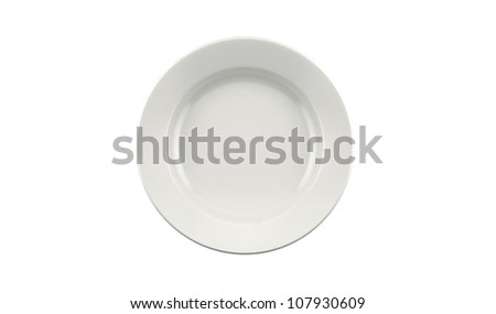 Empty white ceramics plate isolated on white background