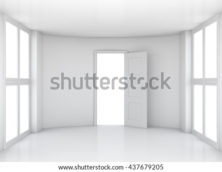 Empty white clean room with opened door and large windows. 3D rendering - stock photo