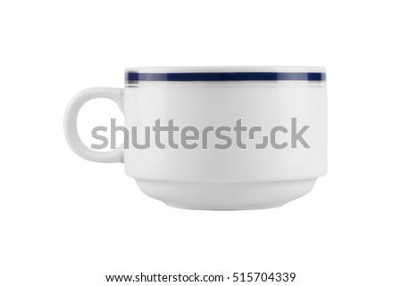 empty white coffee cup isolated on white background - clipping path
