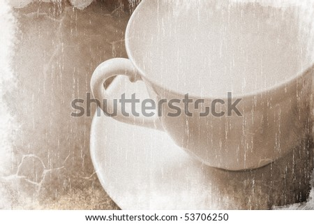 Empty white coffee cup on a wooden table (vintage style) - stock photo