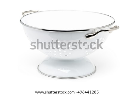 Empty white colander over white background