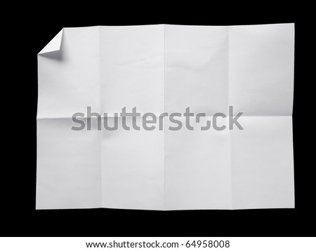 Empty white Crumpled paper on black background - stock photo