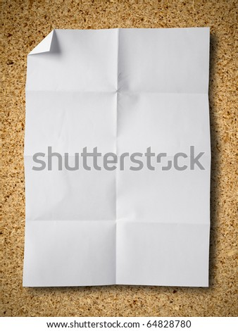 Empty white Crumpled paper on Particle board background - stock photo