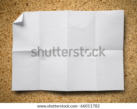 Empty white Crumpled paper on Particle board background horizontal - stock photo