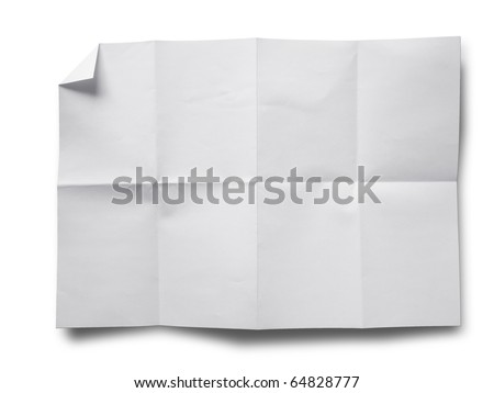 Empty white Crumpled paper on white background