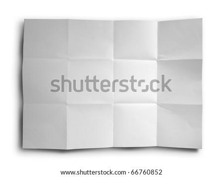 Empty white Crumpled paper on white background - stock photo