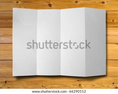 Empty white Crumpled paper on wood background horizontal - stock photo