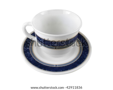 Empty white cup with blue pattern isolated