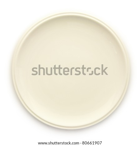 Empty white dish isolated on white background