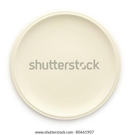 Empty white dish isolated on white background - stock photo