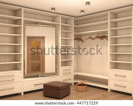 Empty white dressing room; interior of a modern house. 3d illustration