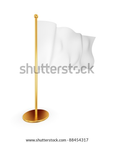 Empty white flag. Isolated on white. 3d rendered. - stock photo