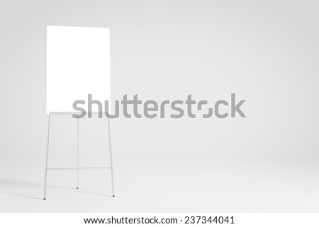Empty white flipchart background for a presentation (3D Rendering) - stock photo