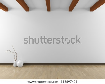 empty white interior - stock photo