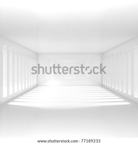 Empty White Interior - 3d illustration - stock photo