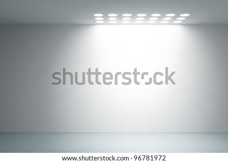 empty white interior, 3d render - stock photo