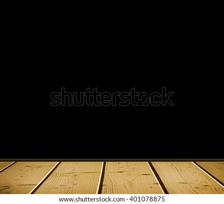 Empty white interior of vintage room without ceiling from the old wooden floor with a black background empty - stock photo