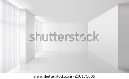 Empty white interior. Wall room and floor, clear apartment, design and minimalism style - stock photo