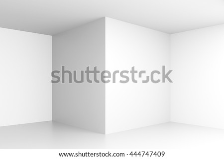 Empty white interior with corners and blank walls. Mock up, 3D Rendering - stock photo