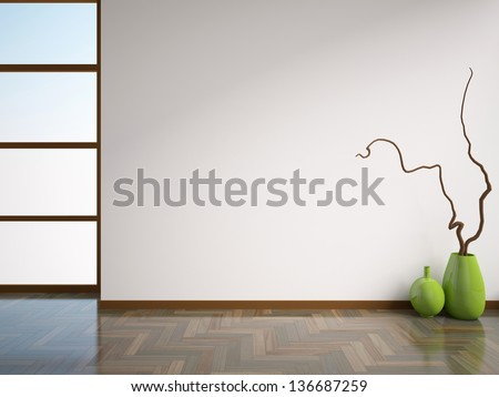 empty white interior with vases - stock photo
