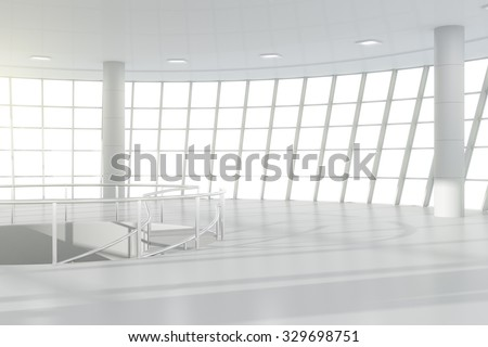 Empty white light office with windows in floor 3D Render - stock photo