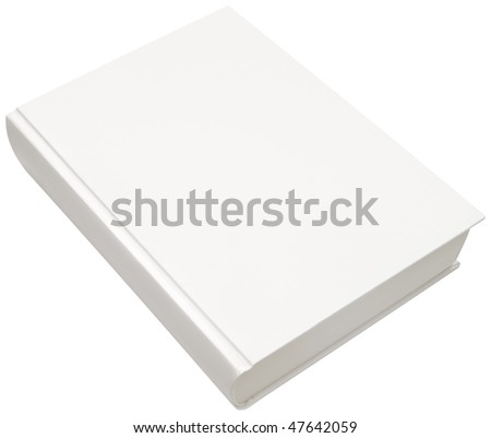 Empty white model of hard book cover isolated with clipping path - stock photo