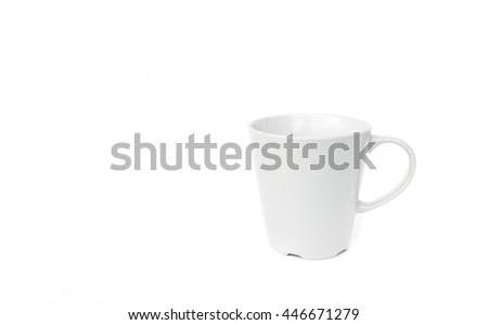 Empty white mug on white background - stock photo
