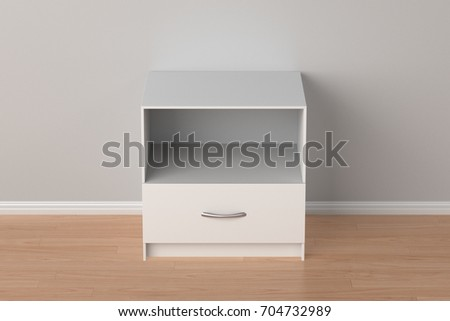 empty white nightstand in home interior isolated with clipping path around nightstand 3d