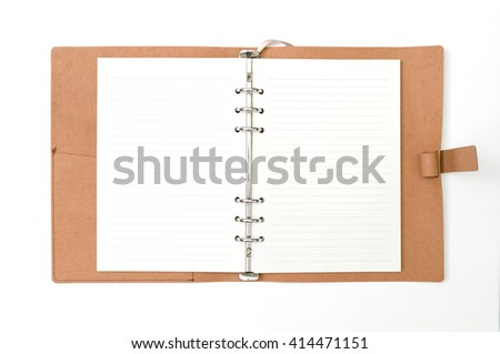 Empty white notebook with brown cover on white background. - stock photo