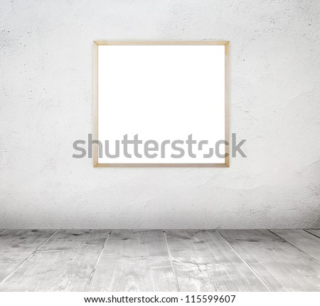 Empty white old interior room with painted concrete wall and empty grunge wood frame and wooden plank floor