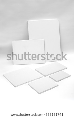 Empty white painter canvases isolated on white with clipping path