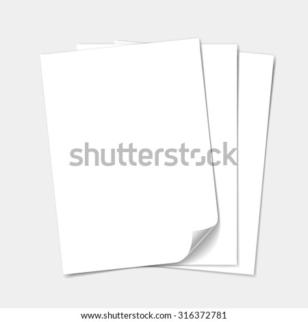 Empty white paper sheet. Blank set isolated