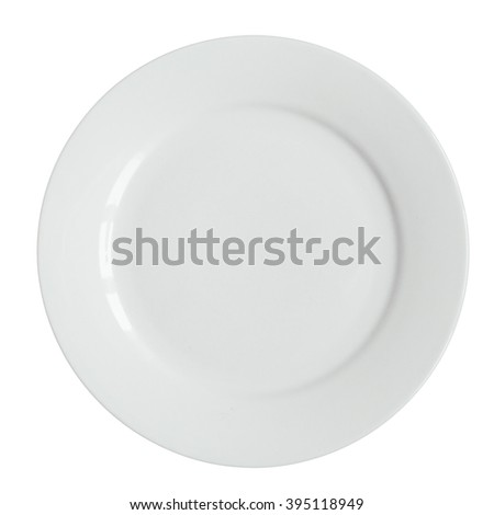Empty white plate isolated on white.