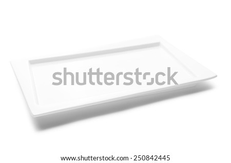 Empty white plate isolated on white background - stock photo