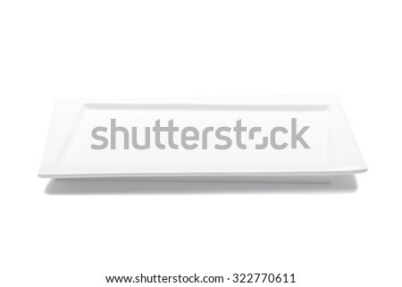 Empty white plate isolated on white background