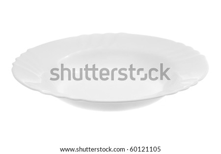 empty white plate isolated on white background - stock photo