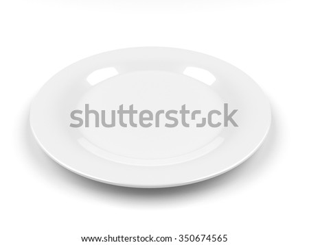 Empty white plate on served, 3D render, isolated - stock photo