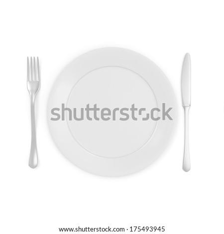 Empty white Plate with Fork and Knife isolated on white background - stock photo