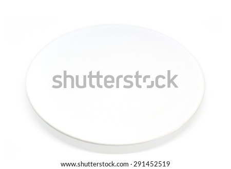 Empty white plate with shadow on a perfect white background - stock photo
